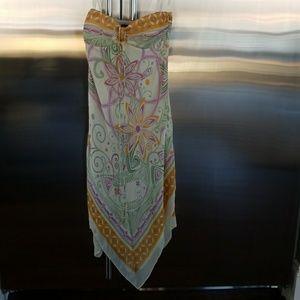 NWT BCBG strapless scarf print silk dress size 2